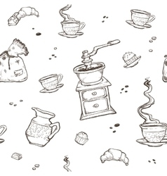 Coffee and dessert seamless pattern Food vector image