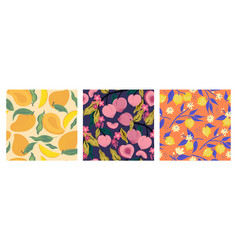 collection fruit seamless patterns image vector image