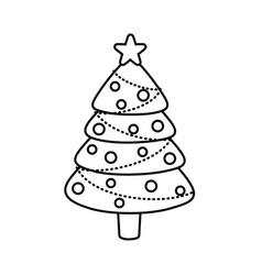 decorated pine tree star ballsmerry christmas line vector image