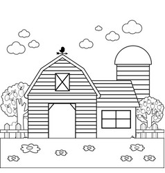 Farm landscape with barn vector