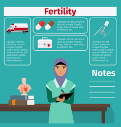 fertility doctor and medical equipment icons vector image