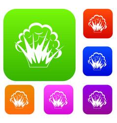flame and smoke set color collection vector image