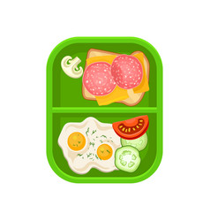 fried eggs with vegetables and sandwich with vector image