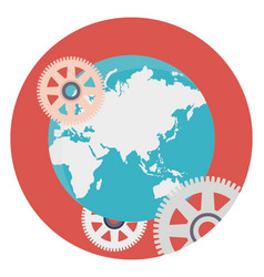 Global technology flat icon vector