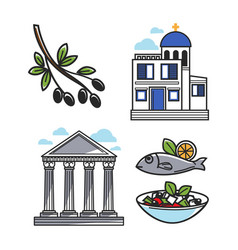 Greek architectural and food symbols isolated vector
