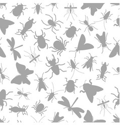 grey silhouettes insect seamless pattern vector image