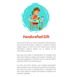 Handcrafted gift girl sitting at table and cutting vector
