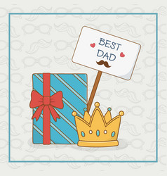 happy fathers day card with gift box vector image