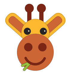 head of a giraffe in cartoon flat style vector image