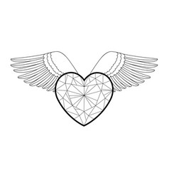 heart and wings outline coloring pattern vector image