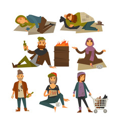 Homeless people beggars and bum vagrants vector