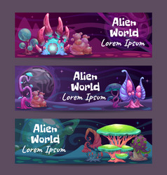 horizontal fantasy banners with magic plants and vector image