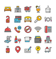 Hotel and travel colored icons set 1 vector
