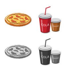 Isolated object of pizza and food symbol set of vector