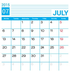 July 2015 calendar page template vector image