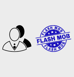 linear managers icon and scratched flash vector image