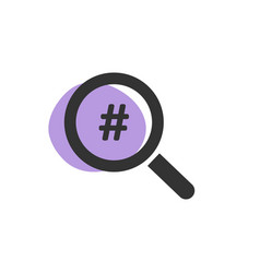 magnifying glass looking for a hashtag isolated vector image