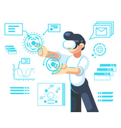 man in helmet of virtual reality device new vector image
