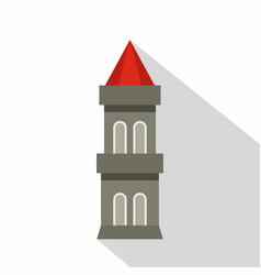medieval battle tower icon flat style vector image