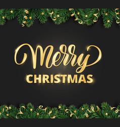 Merry christmas hand written lettering winter vector