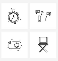 Mobile ui line icon set 4 modern pictograms of vector