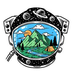 Mountain view in astronaut helmet vector