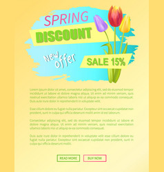 new offer spring discount 15 off web poster online vector image