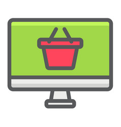 Online shopping filled outline icon basket and pc vector