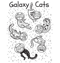 Outline print with cats in space coloring vector
