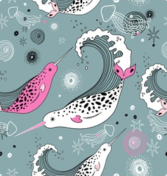 pattern sea narwhals vector image
