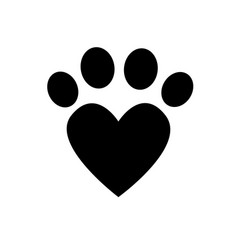 paw print icons stock paw love vector image