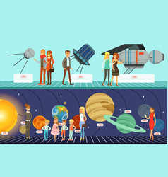people in the planetarium set innovation vector image