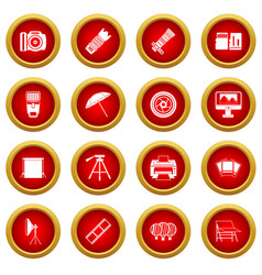 Photo studio icon red circle set vector