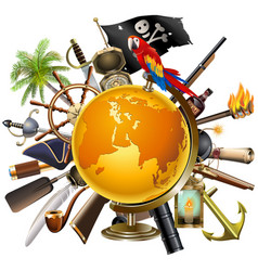pirate concept with globe vector image