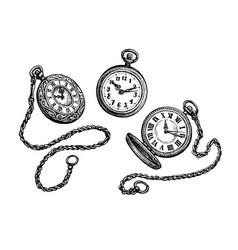 pocket watch set vector image