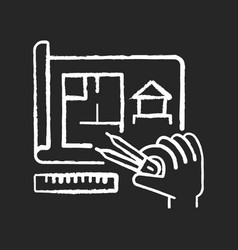 preparing chalk white icon on black background vector image