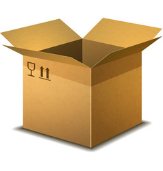 Realistic open cardboard box with parcel post vector
