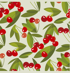 red summer cherry seamless pattern vector image