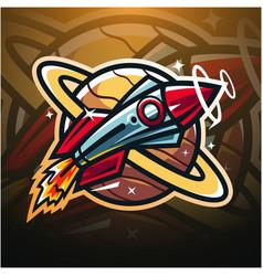 rocket esport mascot logo design vector image