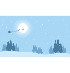 Santa with train deer on the sky silhouettes vector image