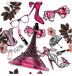 seamless fashion background with perfume eifel vector image