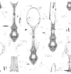 seamless pattern with fork knife and spoon ornate vector image