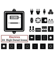Set of 24 electrics icons vector