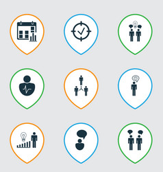 Set of 9 executive icons includes decision making vector