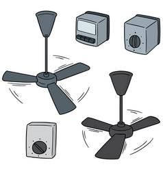 Set of ceiling fan and fan switch vector