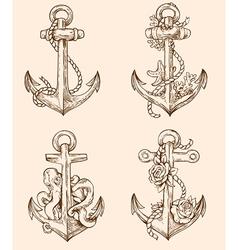 Set of hand drawn vintage anchors vector image