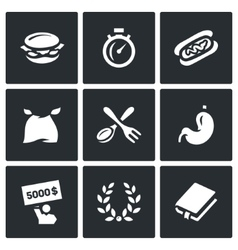 Set of Speed Eating Contest Icons Burger vector image