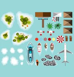 set plane islands beach infrastructure ship vector image