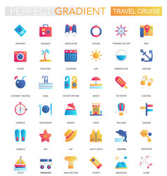 set trendy flat gradient travel journey vector image