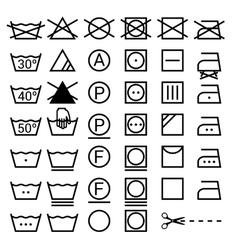 Set washing symbols laundry icons isolated on vector